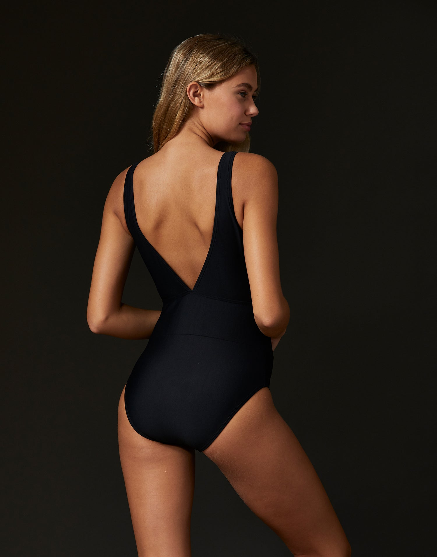 Adult Avery Leotard with Open Back in Black - back view