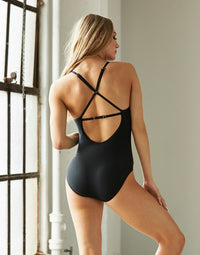 Adult Ivy Leotard with Criss Cross Straps in Black Rib - back view