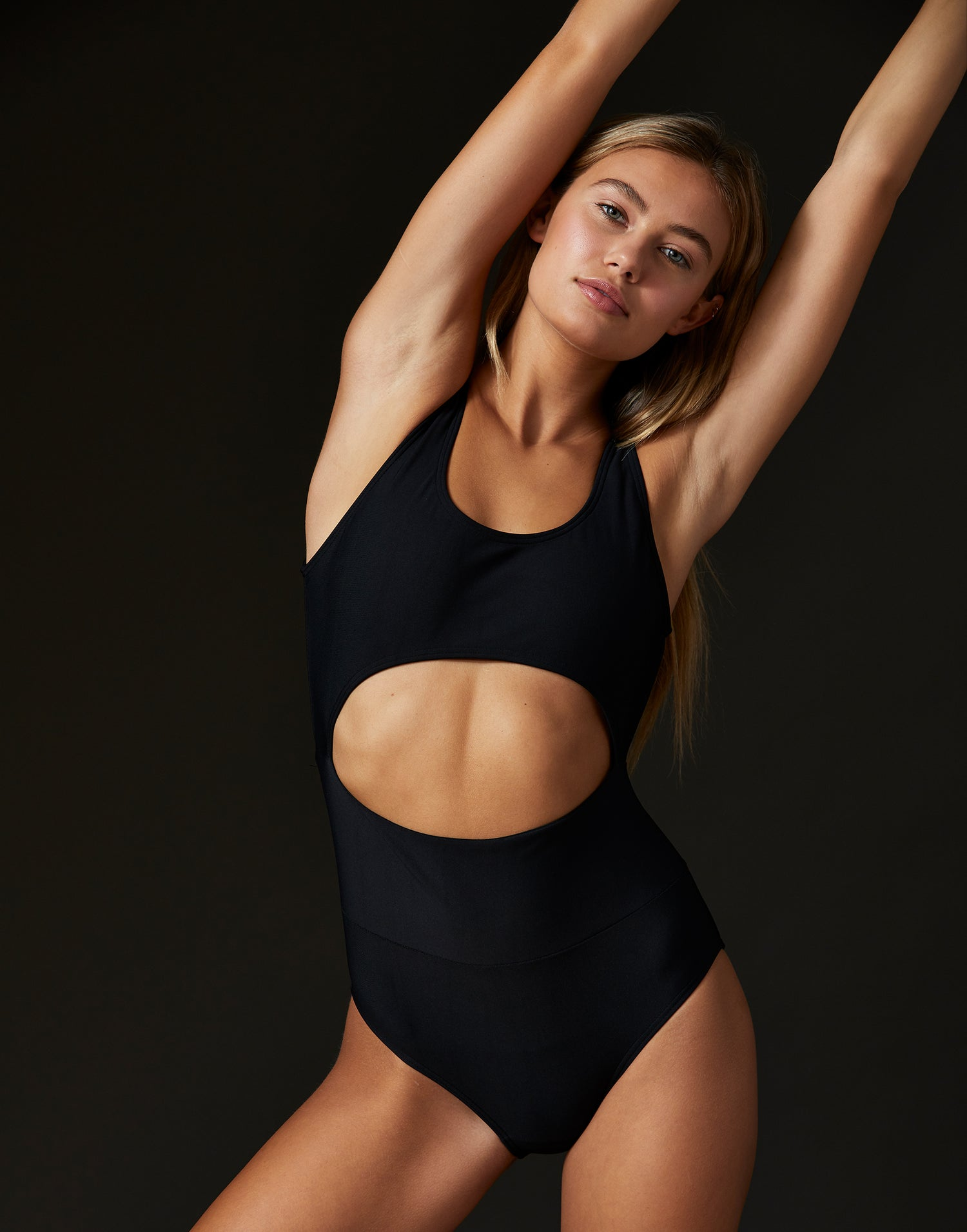 Adult Avery Leotard with Cutout Detail in Black - alternate front view
