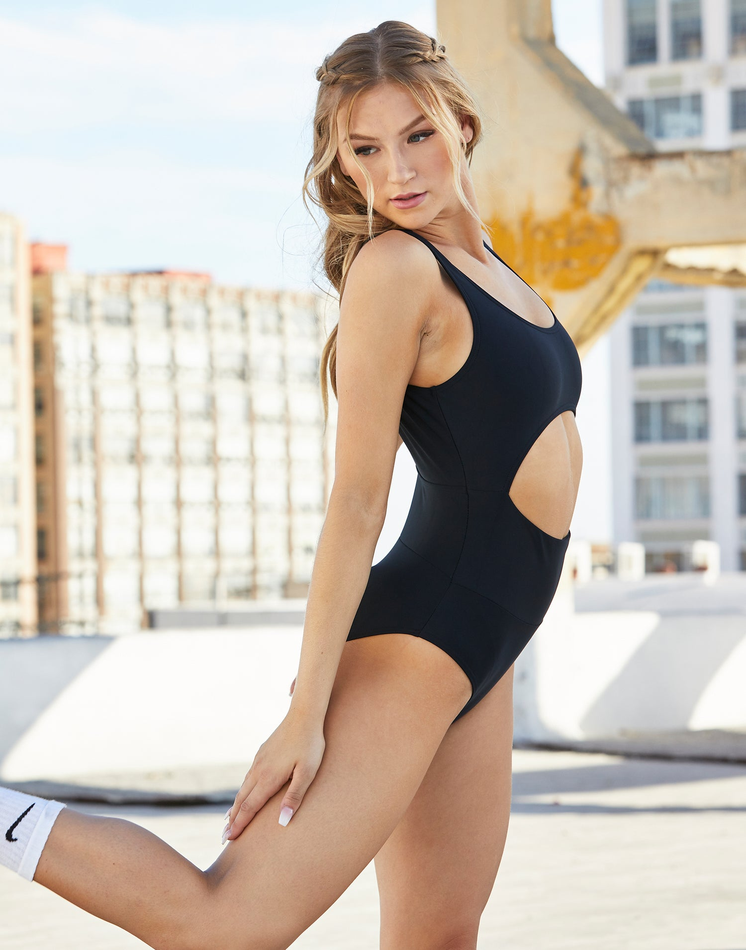 Adult Avery Leotard with Cutout Detail in Black - side view