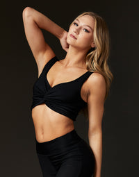 Adult Bailey Top with Knotted Detail in Black Rib - front view