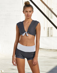 Adult Audrey Short in Black White Stripe - front view