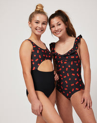 Child Avery Leotard with Cutout Detail in Black Cherry - alternate front view