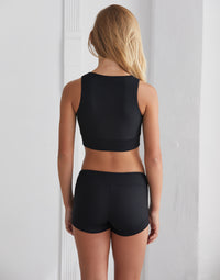 Child Bailey Short in Black Rib - back view