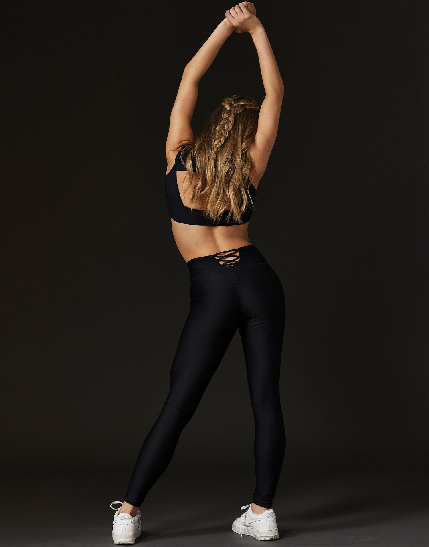 Adult Emma Legging with Lace Up Detail in Black - back view