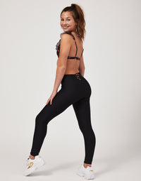Child Emma Legging with Lace Up Detail in Black - alternate back view
