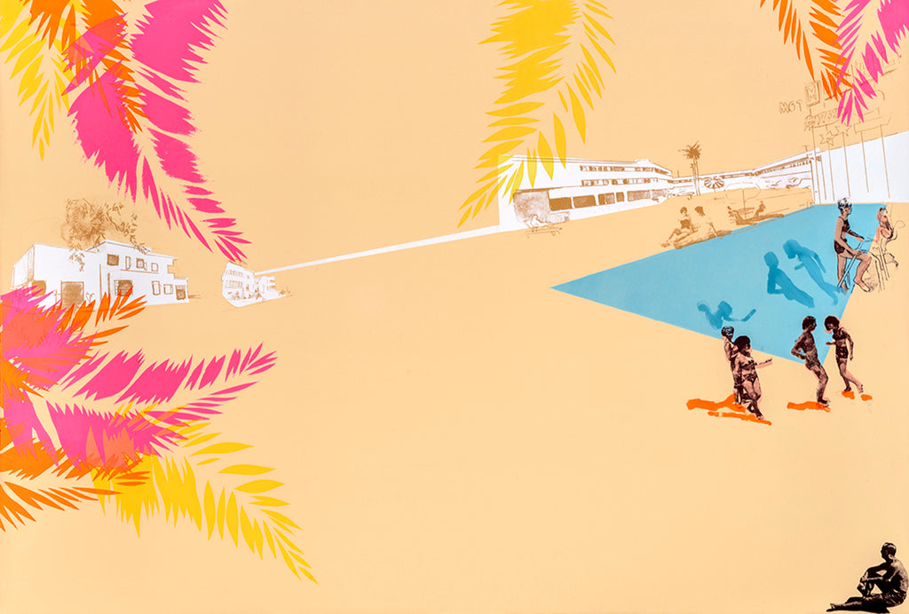 Anna Marrow large screenprint pool party at the riviera