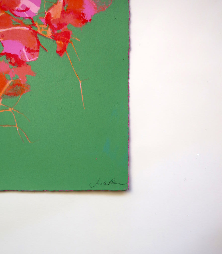Jo de Pear - Bougainvillea Green + Red composition