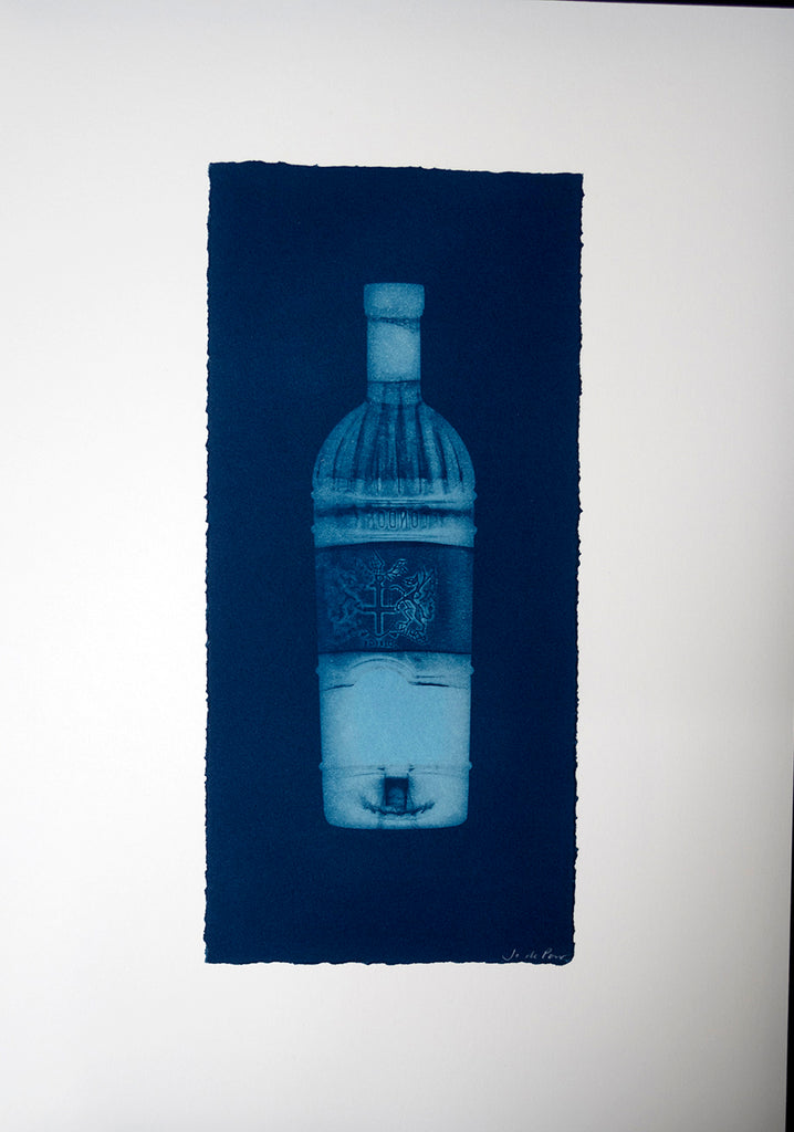 Jo de Pear -  Bottle - Cyanotype print.