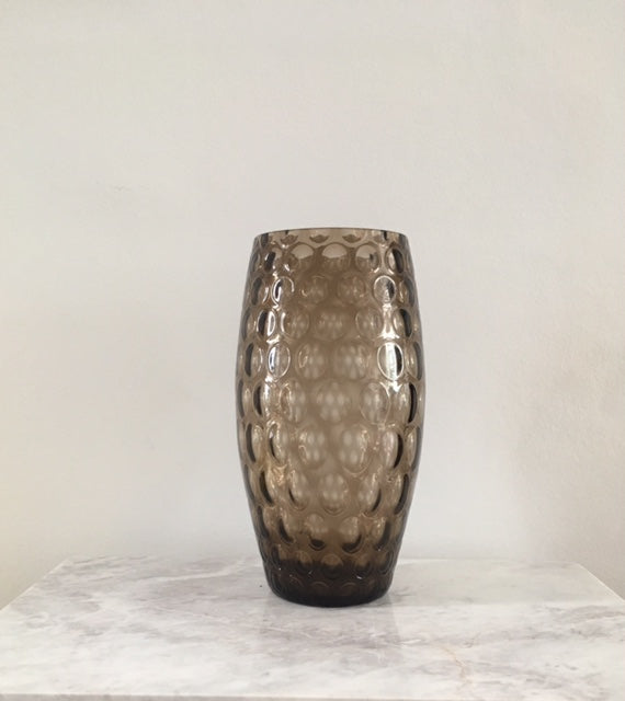 Large Grey Glass Olives Vase
