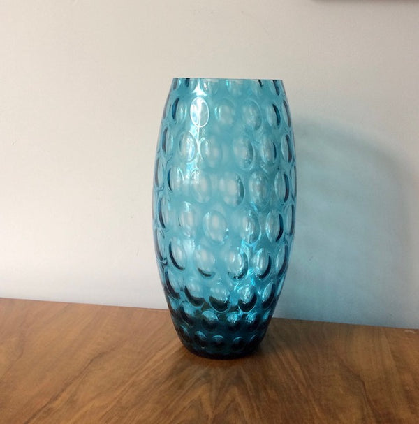 Large Blue Glass Olives Vase