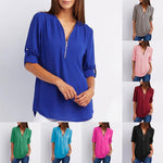 Load image into Gallery viewer, V Neck Zipper Patchwork Plain Blouses