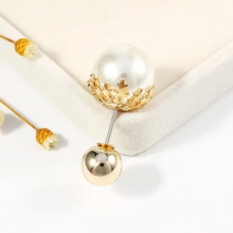 Women Vintage Pins Double Head Simulation Pearl Big Brooches, 5PCs