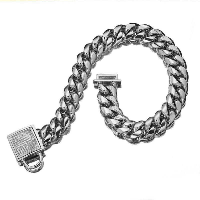Zirconia Lock Buckle Dogs Chain Necklace