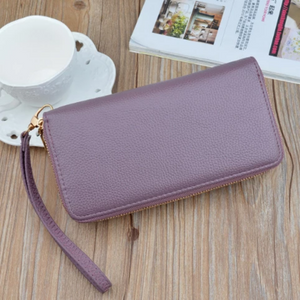 Women Double Zipper Leather Brand Retro Long Wallet