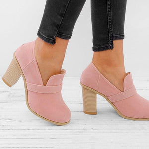 Women Fall Ankle Boots Middle Heel Shoes