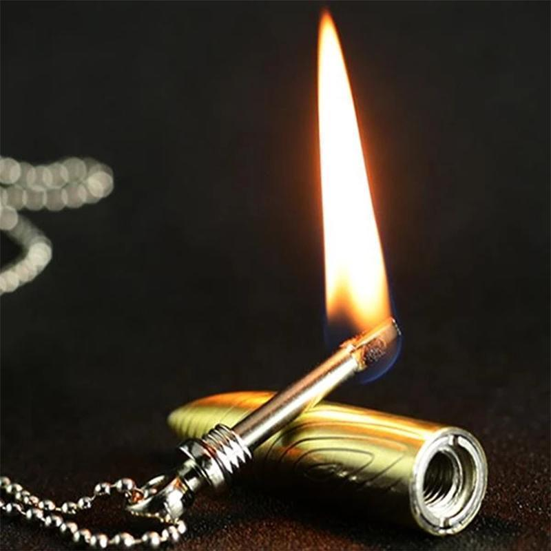 Pendant Lighter Bullet Shaped Necklace