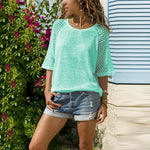 Load image into Gallery viewer, Lace Stitching Round Neck Cropped T-Shirt