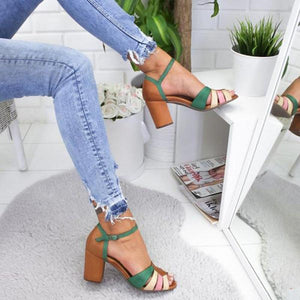 Women's splicing sandals with high heels