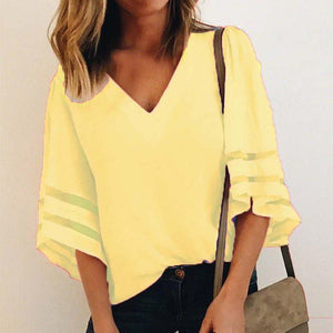 Women's V Neck Mesh Panel Blouse