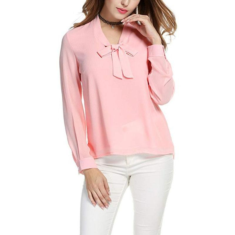 Chiffon Long Sleeve Bow Shirts