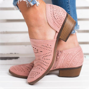 Hollow-Out Low Heel Faux Suede Zipper Ankle Boots