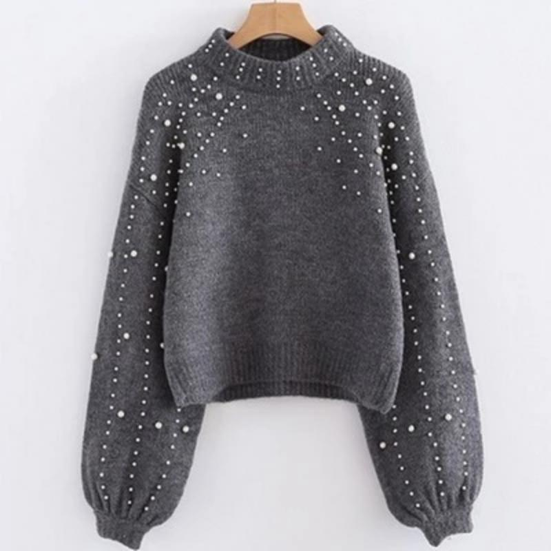 Pearl Printed Lantern Sleeve Knitwear Soft Knitting Sweater