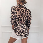Load image into Gallery viewer, Women Long Sleeve Sexy Leopard Print Turn Down Collar Blouse
