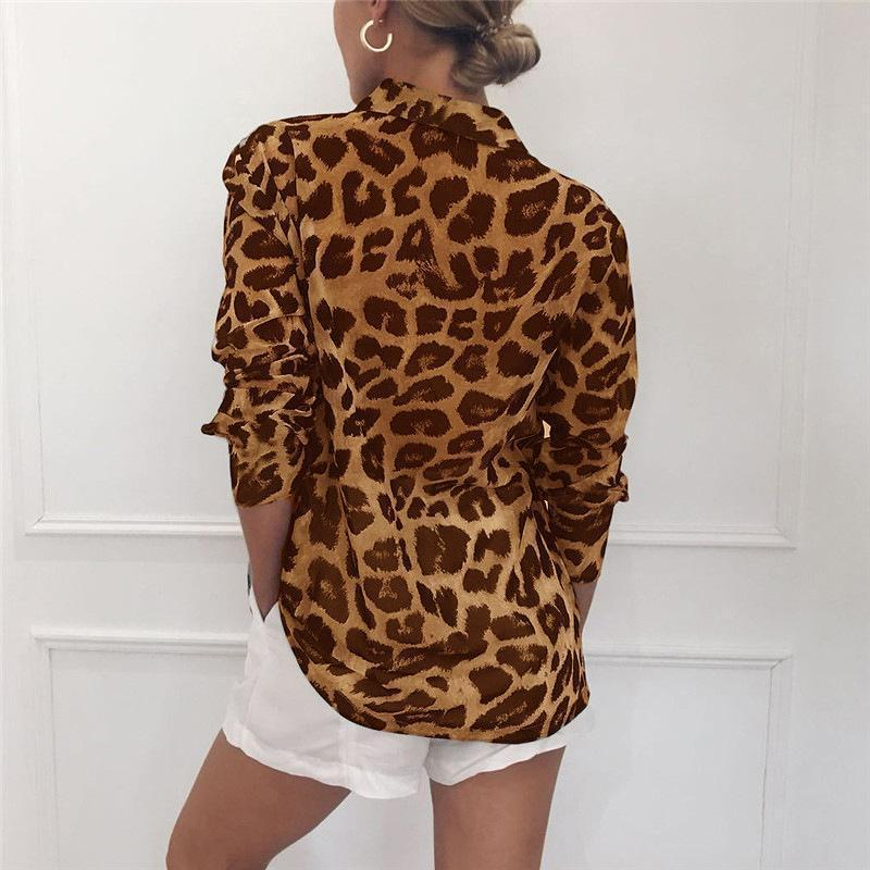 Women Long Sleeve Sexy Leopard Print Turn Down Collar Blouse