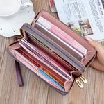 Load image into Gallery viewer, Women Double Zipper Leather Brand Retro Long Wallet
