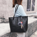 Load image into Gallery viewer, Women Leather Hairball Zipper Tote Solid Color Shoulder Bag