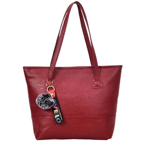 Women Leather Hairball Zipper Tote Solid Color Shoulder Bag