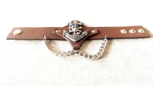 Anchor -Moto bracelet -brown leather-pls-73