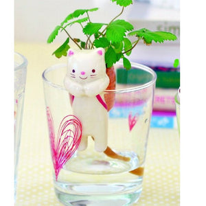 Shippon Self Watering Animal Tail Planter - Cat/Wild Strawberry