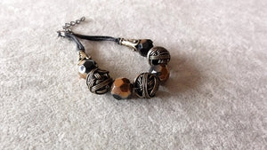 Stylish Bracelet-Crystal and Mixed Metals Charm bracelet