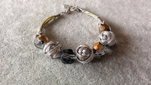 Stylish Bracelet-Silver Wire Wrapped Beads bracelet