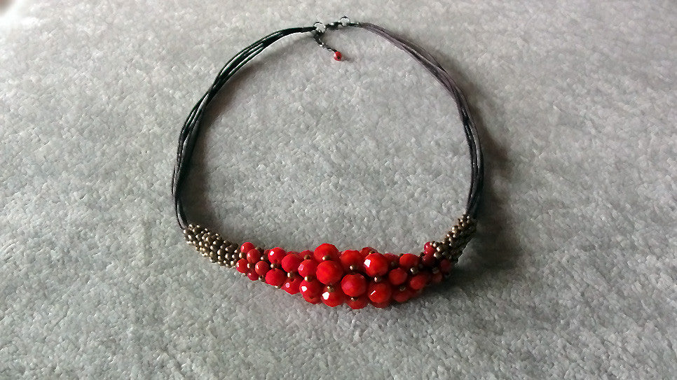 Stylish necklace v.2-Ruby red beaded charm necklace