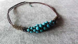 Stylish necklace v.2-Sky Blue beaded charm necklace