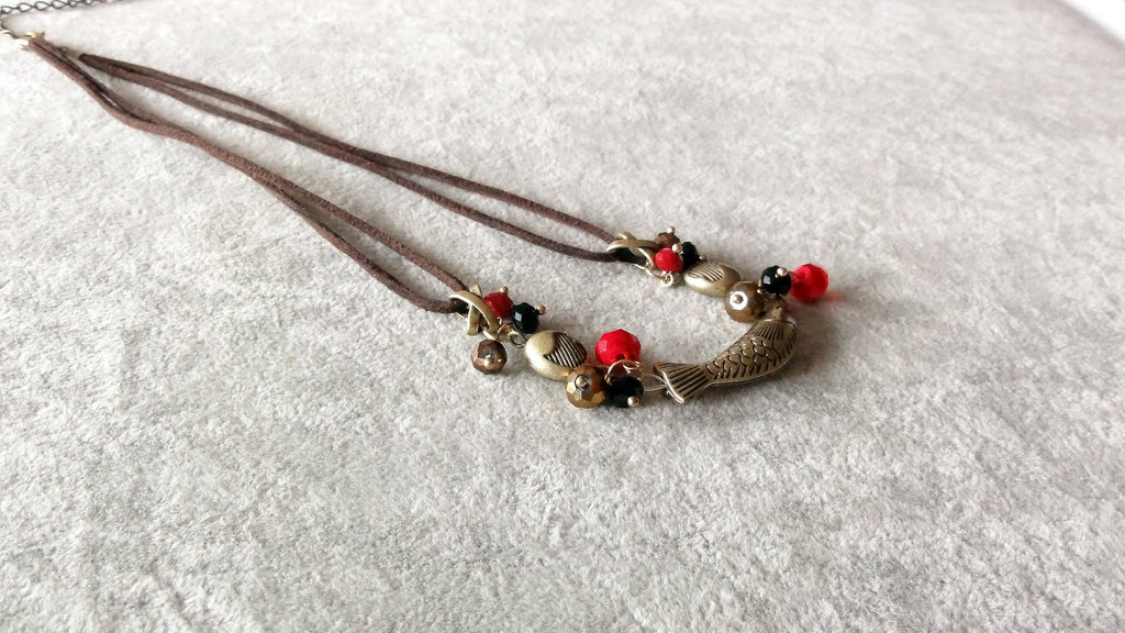 Stylish necklace v.2-Copper fish with beads Necklace