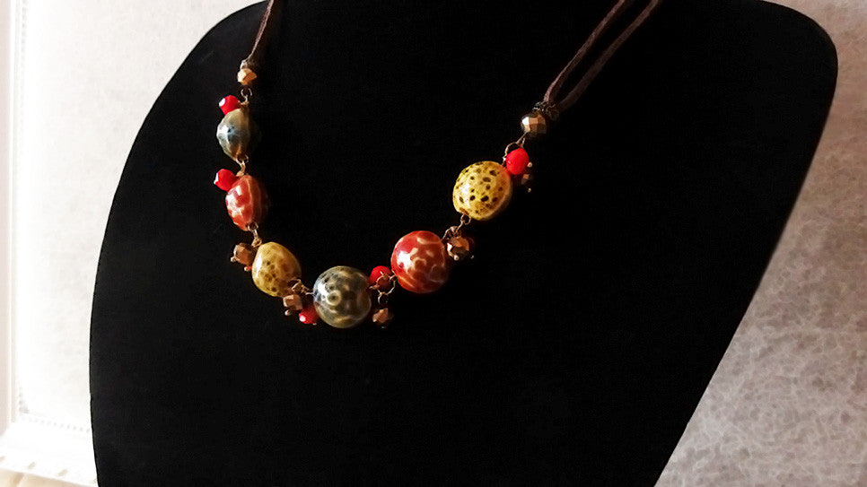 Stylish necklace v.2-Mixed Enamel Ball Necklace
