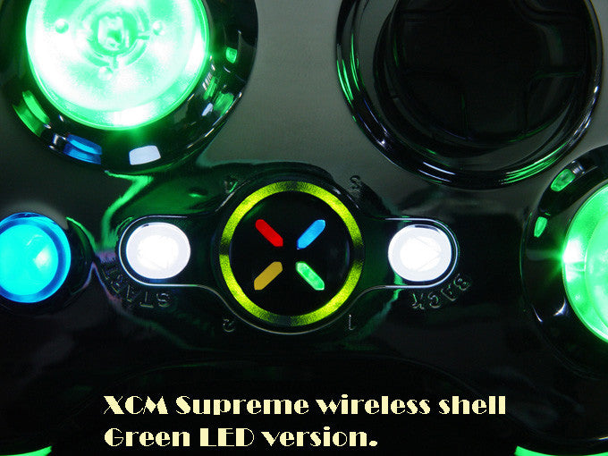 XCM supreme wireless shell -Chrome/Green (for XBOX 360 Wireless controller)