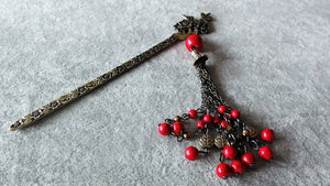 Stylish necklace v.2-traditional Chinese vintage style hair stick-red