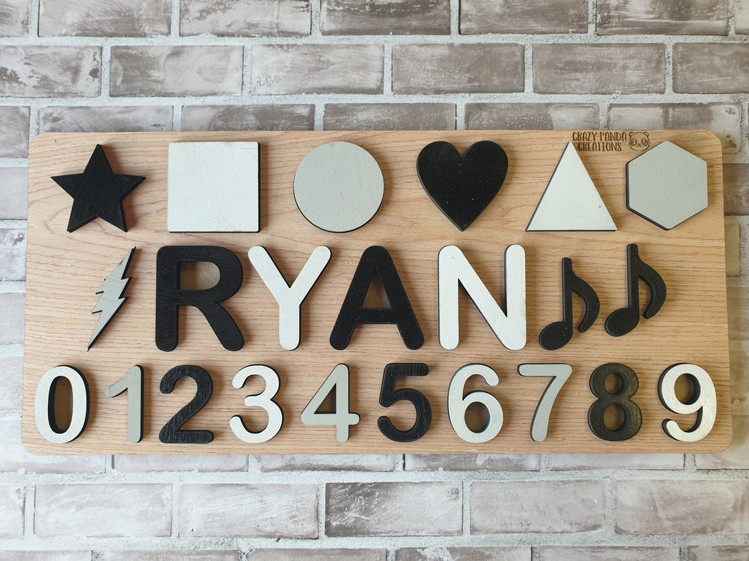 Wooden Name Puzzle (Single Name/Raised) with Shapes & Numbers