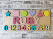 Load image into Gallery viewer, Wooden Name Puzzle (Single Name/Raised) with Shapes & Numbers