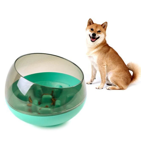 Image of rocking bowl dietetic friendly dog food slow feeder bowl