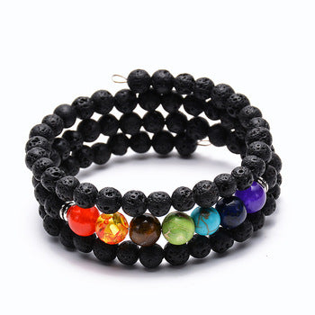 Black Lava Rock Stone Adjustable Bracelet