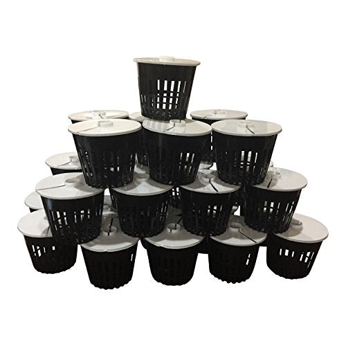Net Pot 3 inch with Lids Mesh Hydroponic Aeroponic Orchid Round (25 Pack)