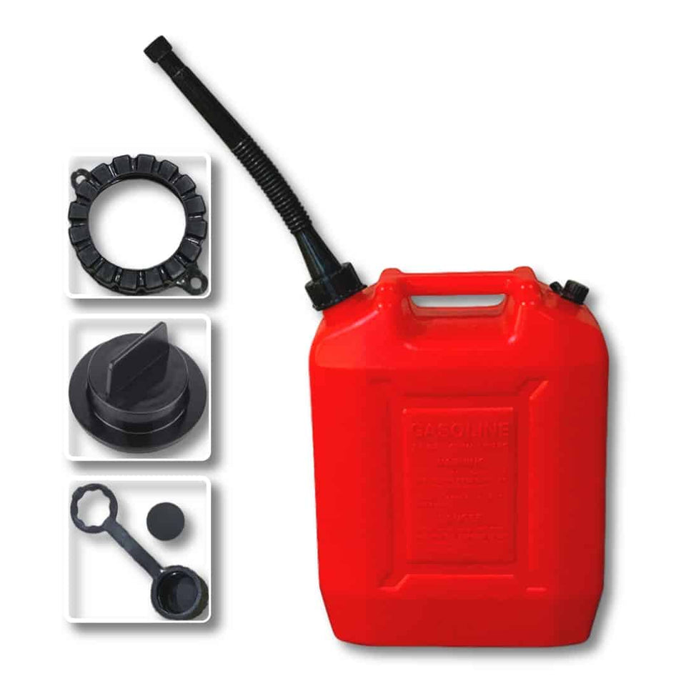 2.6 Gallon Gas Can with One Long Black with Stainless Steel Filter - Red (10 L)