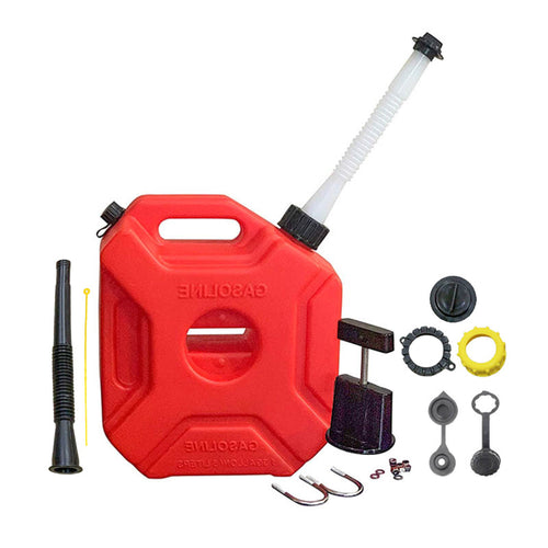 KP61 - 1.3 Gallon Gas Can with Car Mount and Two Spout (Black and White) - Red (5 L)