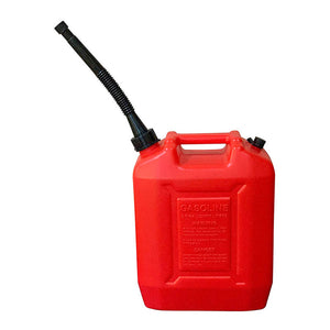 KP63 - 2.6 Gallon Gas Can with One Long Black with Stainless Steel Filter - Red (10 L)